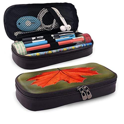 Autumn Rain Maple Leaf Estuche de cuero para lápices con portalápices, papelería de gran capacidad, bolsa de cosméticos, auriculares Bluetoothres