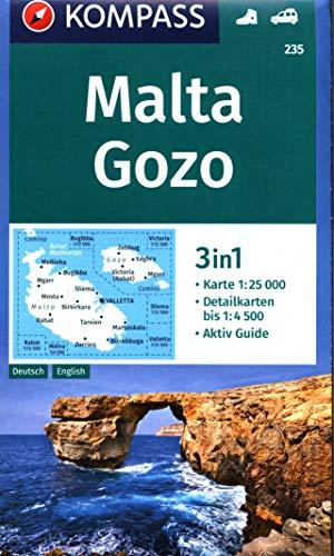 Malta, Gozo 1:25 000: 3in1 Wanderkarte 1:25000 mit Aktiv Guide und Detailkarten. Autokarte.