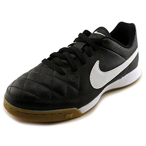 Nike Damen Jr Tiempo Genio Leather IC Fitnessschuhe, Schwarz Weiß schwarz Weiß Schwarz, 36 EU