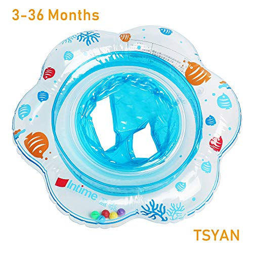 TSYAN Baby Swimming Float Inflatable Pool Infant Floating Ring with Safe Seat Double Airbag Bath Water Beach Toys Swim Training for 3-36 Months Kids Toddler Boys Girls(Blue