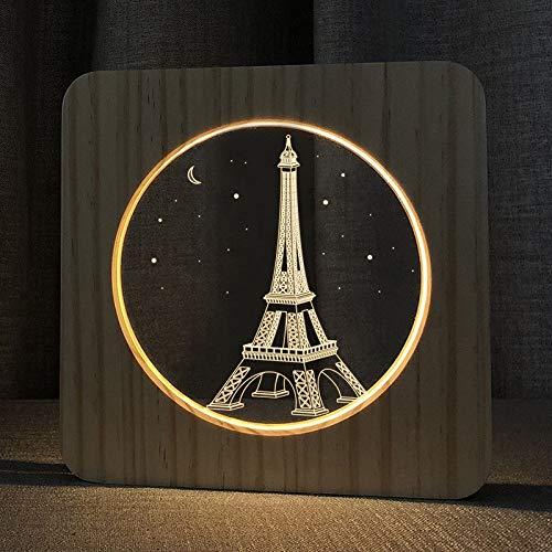 SZG Torre Eiffel 3D lámpara de madera LED luz nocturna principal dormitorio decoración creativa lámpara de mesa para niños regalo