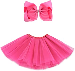 BGFKS 5 Layered Tulle Tutu Skirt for Girls with Hairbow, Ballet Dressing Up Kid Tutu Skirt