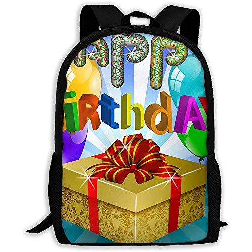 Lmtt Mochila Colorido Feliz Cumpleaños Navidad Regalo Mochila Casual Bolsa de Viaje para Adolescentes Niños Niñas