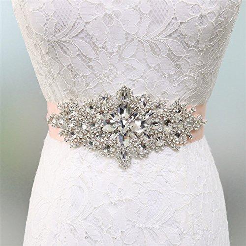 Zdada Kristall Gürtel Damen Hochzeit Gürtel Brautkleid Schärpe Kristall Strass Applique-8 Farbe Band Optionen, Blush, RA004