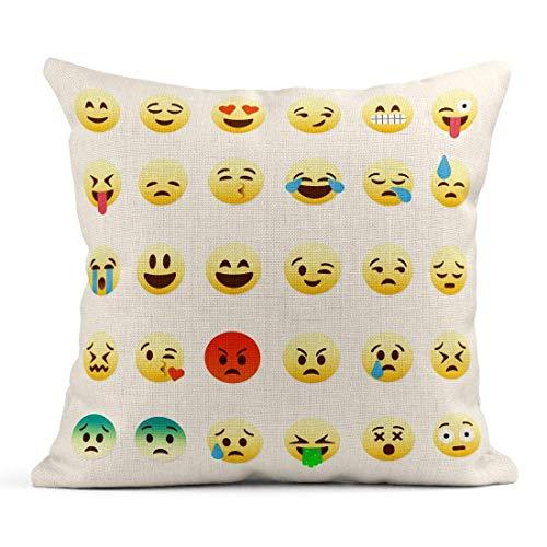 Kinhevao Cojín Amarillo Triste de Cute Smiley Emoticones Grito Plano Beso Enojado Emoción Cara Cojín de Lino Almohada Decorativa para el hogar