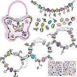 Nabance para niñas Conjunto de fabricación de pulseras con dijes con cuentas chapadas en plata del arco iris Cadena de serpiente Caja de almacenamiento de joyas artesanías para niños de 8-12 años