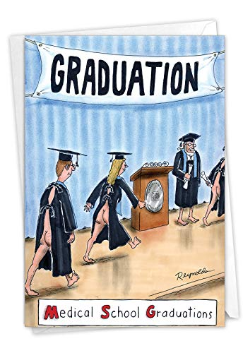 MSG - Medical School Graduation Greeting Card with Envelope (4.63 x 6.75 Inch) - Naked Graduates, Cartoon Congratulations Card for Doctors, Med School, College Grad - Funny Graduation Greeting 3944