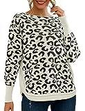 SOMTHRON Suéter de punto suelto para mujer, estilo casual, estampado de leopardo beige L