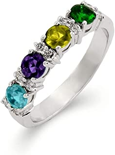 Sterling Silver Custom 4 Stone Simulated Birthstone Eternity Band, ring sizes 5 to 9
