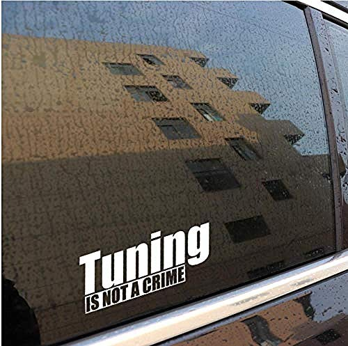 hutianyu 15.8.X 6Cm Leuke Auto Styling Motorfiets Vinyl Auto Sticker Tuning Is Niet Misdaad Decal Zilver Zelfklevende-emovablewaterproof Muurstickers Verwijderbare Decoratieve Accessoire 2 Stks/Set