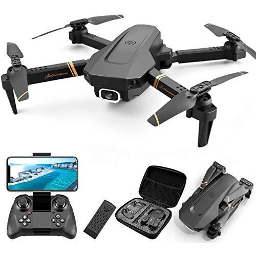ZHBD Drone Pieghevole con Fotocamera HD 1080P, Quadcopter con Video Video Live FPV Grandangolare, Volo di Traiettoria, Controllo App, Flusso Ottico, Hold Hold, per Adulti Bambini,One Battery