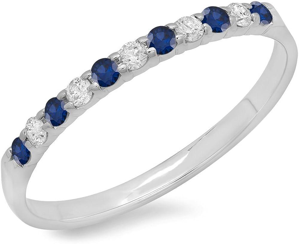 Dazzlingrock Collection 10K Round Gemstone & White Diamond Ladies Anniversary Wedding Stackable Band, White Gold