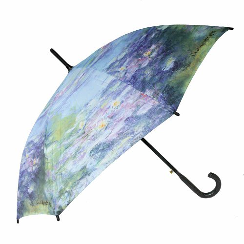Stockschirm Regenschirm Kunst Motiv Claude Monet (Blau: Seerosen)