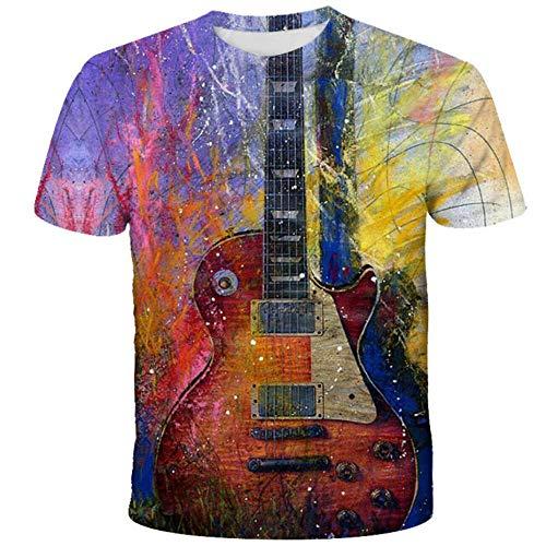 Summer O-Neck Täglich Casual 3D-Bedrucktes T-Shirt, Kreatives Gitarren-Musikinstrument Mit Tintenstrahldruck, Kurzer Ärmel, Erfrischendes, Atmungsaktives Top-A_6XL