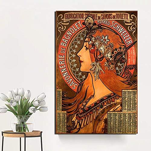 KWzEQ Modernes Wandkunstplakat der Retro-Frau Ölgemälde Leinwand Wohnzimmer Hauptdekoration,Rahmenlose Malerei,50x75cm