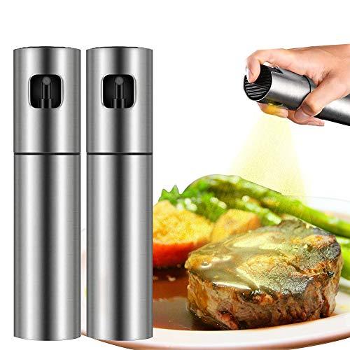 QQLK Oil Sprayer Olivenöl Sprüher zum Kochen - Essig & Ölflasche 100ml - Rostfreier Stahl Olivenöl Flasche Behälter zum Grillen, Salat Machen, Kochen, Backen, Braten, Grillen,2pcs