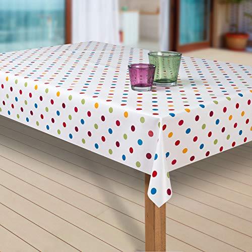 laro Wachstuch-Tischdecke Abwaschbar Garten-Tischdecke Wachstischdecke PVC Plastik-Tischdecken Eckig Meterware Wasserabweisend Abwischbar G03, Muster:Punkte Weiss-bunt, Größe:100x140 cm