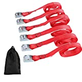 XSTRAP Cam Buckle Straps 6PK 8FT Powersports Tie-Downs 1-Inch Red