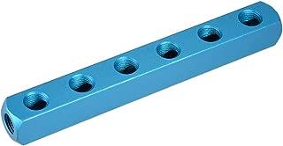 uxcell G 1/4 inches Thread 9 Ports 6 Way Manifold Block Splitter,Quick Connect Air Hose Inline Splitter Coupler,Air Compressor Splitter