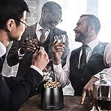 Lyihlou Aschenbecher Edelstahl mit Deckel, Winddichter Tischaschenbecher für Zigaretten, Moderne Tischplatte Aschenbecher tragbar mit rutschfestem Basis für Draußen und Innen schwarz 8 * 7.5 * 6.5cm - 8