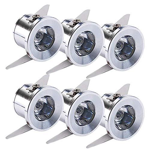 Yeehome - 6 mini focos empotrables de 1 W LED para el escaparate, estación de interior, iluminación de cartón yeso, incluye transformador