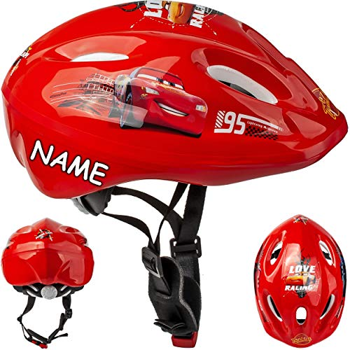 alles-meine.de GmbH Kinderhelm - Disney Cars / Lightning McQueen Gr. 52 - 56 - Circa 3 bis 15 Jahre - incl. Namen - Verstellbarer Helm - für Kinder Junge Auto Fahrzeuge / Fahrrad..