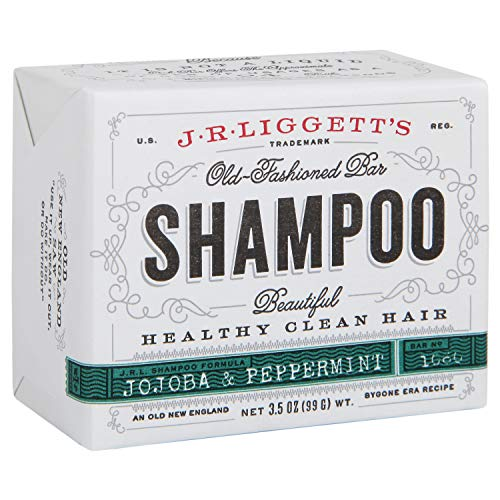 J·R·LIGGETT'S All-Natural Shampoo Bar, Jojoba and Peppermint Formula-Supports Strong and Healthy Hair-Nourish Follicles with Antioxidants and Vitamins-Detergent and No Sulfate, One 3.5 Ounce Bar