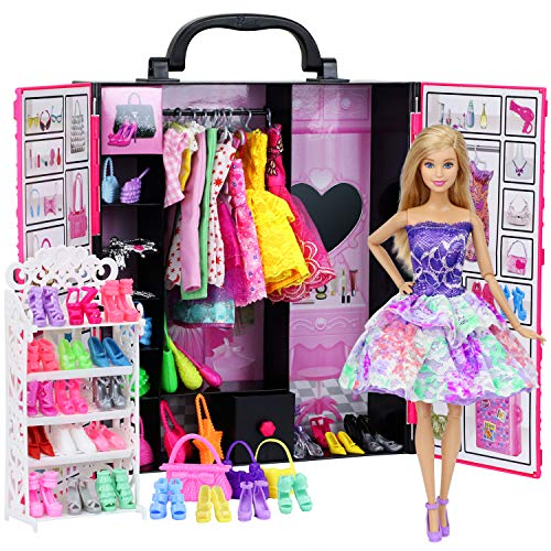 ZITA ELEMENT Fashion Doll Closet Wardrobe for Doll Clothes and Accessories Storage - Lot 52 Items Include Clothes, Dresses, Shoes, Bags, Necklace, Shoes Rack, Hangers for 11.5 Inch Girl Doll Clothes