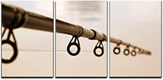 """wall26 - 3 Piece Canvas Wall Art - Fishing Rod Against The Water Surface - Modern Home Decor Stretched and Framed Ready to Hang - 24""""x36""""x3 Panels"""