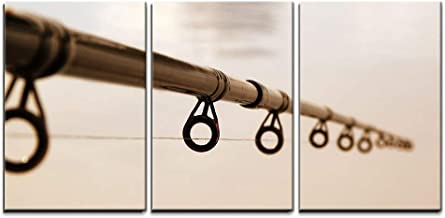 wall26 - 3 Piece Canvas Wall Art - Fishing Rod Against The Water Surface - Modern Home Decor Stretched and Framed Ready to Hang - 16