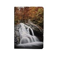 滝の装飾 PUレザー 第4世代 iPad 10.9ケース ブック型 滝の木に囲まれた岩を通って湖に落ちる水 スタンド機能 オートスリープ機能付き ース 白緑とオレンジ