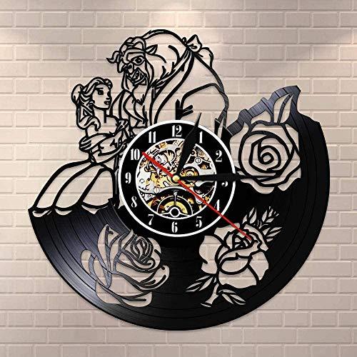 Reloj de Pared con Disco de Vinilo, Regalo Creativo para niños y niñas, Adolescentes, Amigos, diseño artístico único, Reloj de Pared de Vinilo de 12 Pulgadas (Flor de Pareja romántica)