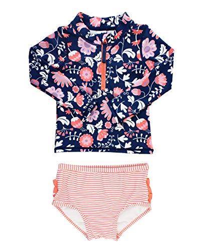 RuffleButts Baby/Toddler Girls Botanical Beach Long Sleeve Zipper Rash Guard Bikini - 6-12m