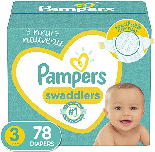 Diapers Size 3, 78 Count - Pampers Swaddlers Disposable Baby...