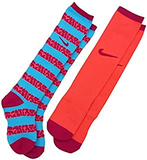 Girl`s Graphic Performance Cotton Cushioned Over The Calf 2 Pack Socks