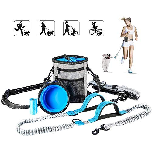 YOUTHINK Hands Free Dog Leash, with Training Treat Pouch, Reflective Shock Bungee Endure Up to 150 lbs, Comfort & Safe Dual Handle Waist Belt Collapsible Water (Waist Dog Leash)