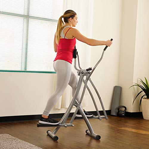 Sunny Health & Fitness SF-E902 Air Walk Trainer Elliptical Machine Glider w/ LCD Monitor, 220 LB Max Weight and 45 Inch Stride, Black/Gray
