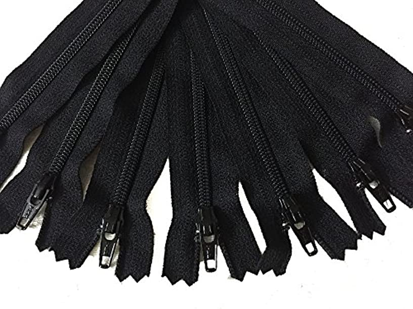 9 Inch Black YKK Zippers Number 3 Nylon Coil Set of 12 Pieces