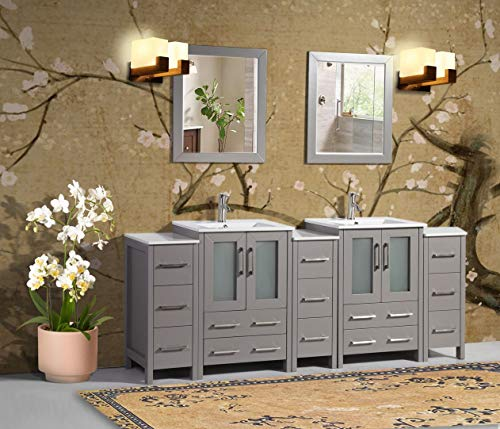 Vanity Art 84 Inch Double Sink Bathroom Vanity Combo Set 3 Side Cabinets 2 Shelves 13 Dove-Tailed Drawers Ceramic Top Bathroom Cabinet with Free Mirror VA3024-84-G