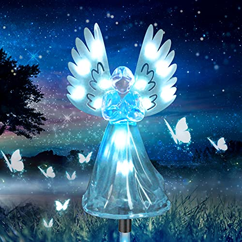 Greenke Solar Angel Light Outdoor, Garden Gifts for Mom Women Housewarming, Color Changing Waterproof Stake Light for Yard Patio Lawn Memorial Day for Grave Cemetery Decorations