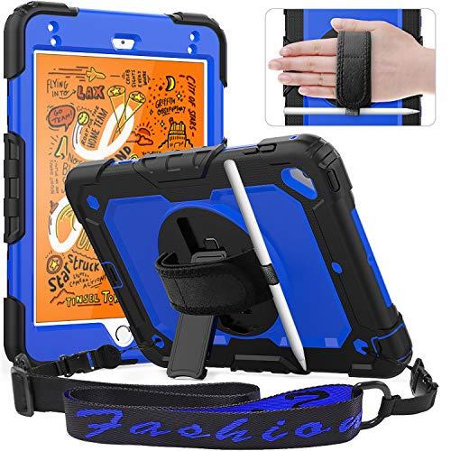 Timecity Case Compatible with iPad Mini 4/ iPad Mini 5 2019 Case, with Built-in Screen Protector/ 360 Degree Swivel Kickstand/Hand & Shoulder Strap/Pencil Holder Cover for iPad Mini 7.9 -Dark Blue