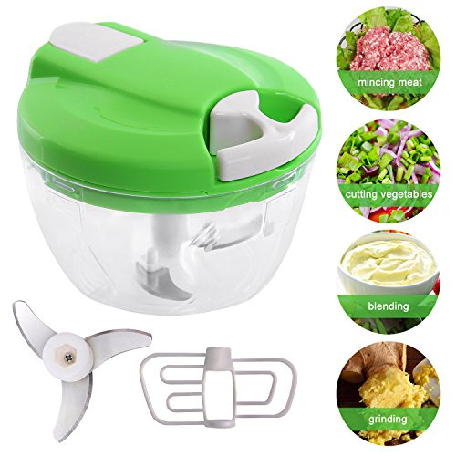 Mini manuale tritatutto, 520 ml verdure cipolla chopper con 3 lame in...