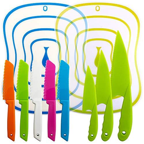 Juego de cuchillos de cocina de 10 paquetes, cuchillos de cocina YuCool con tablas de cortar para niños y adultos -Multi colores