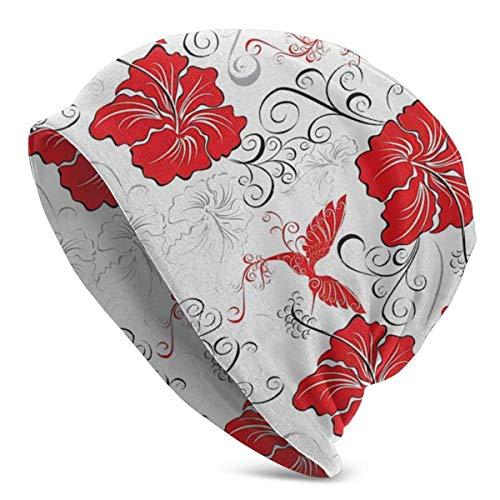 GOSMAO Patrones con Fondo Ornamental de Hibisco y colibríes Sombrero de Punto para Hombre Adulto Gorro Beanie Sombreros Unisex para Adultos, Gorra, pasamontañas, Medio pasamontañas Negro