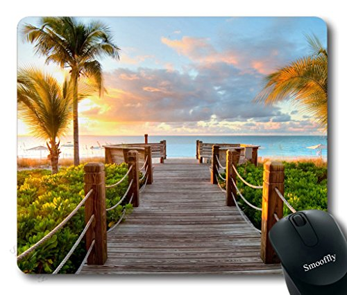 Smooffly Gaming Mouse Pad Custom,Track Palm Trees Beach Sea Ocean Personality Desings Gaming Mouse Pad