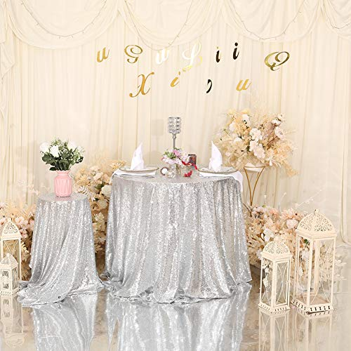 Eternal Beauty 127cm (50 inch) Round Sequin Tablecloth Wedding Party Banquet Table Cloths, Silver