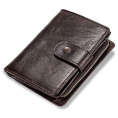 LUROON Geldbörse Herren Echtleder, Geldbeutel Herren Klein RFID Schutz Portemonnaie Männer Geldtasche mit Reißverschluss Münzfach Portmonee Herren Kreditkartenetui Brieftasche (Kaffee)