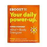 EBOOST Super Powder Energy Drink Mix - 20 Packets - an Effervescent Blend of Vitamin C, B12, Zinc, Electrolytes, and Natural Caffeine Plus Hydration - Pre-Workout Powder - No Sugar (Orange)