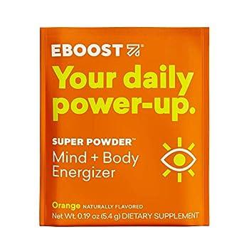 EBOOST Super Powder Energy Drink Mix - 20 Packets - an Effervescent Blend of Vitamin C B12 Zinc Electrolytes and Natural Caffeine Plus Hydration - Pre-Workout Powder - No Sugar  Orange