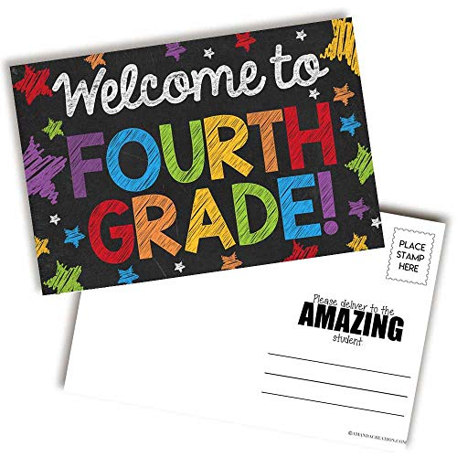 Welcome To 4th Grade Colorful Chalkboard Themed Blank Postcards For Teachers To Send To Students, 4